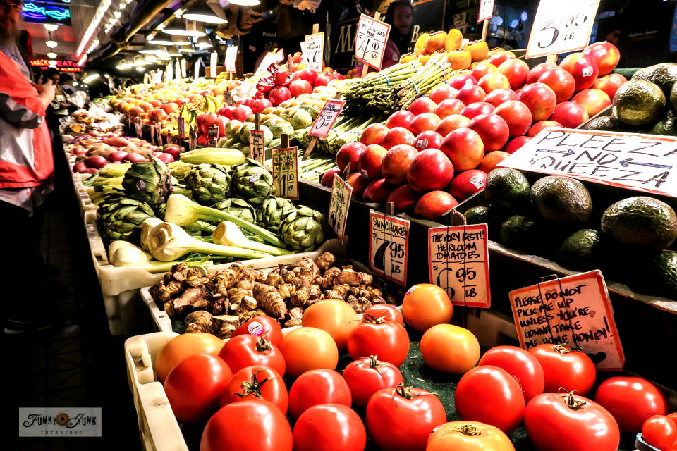 Fresh produce at Pike Place Market in Seattle, Washington.