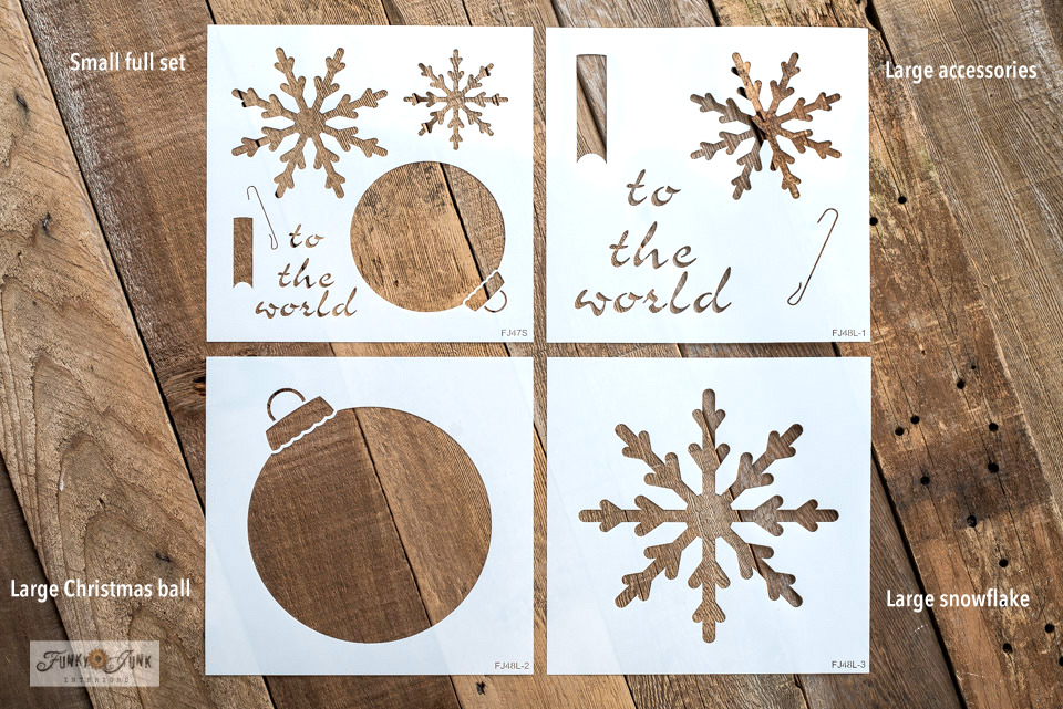 How to add ornaments and snowflakes to a JOY sign with Joy Ornaments stencils from Funky Junk's Old Sign Stencils!