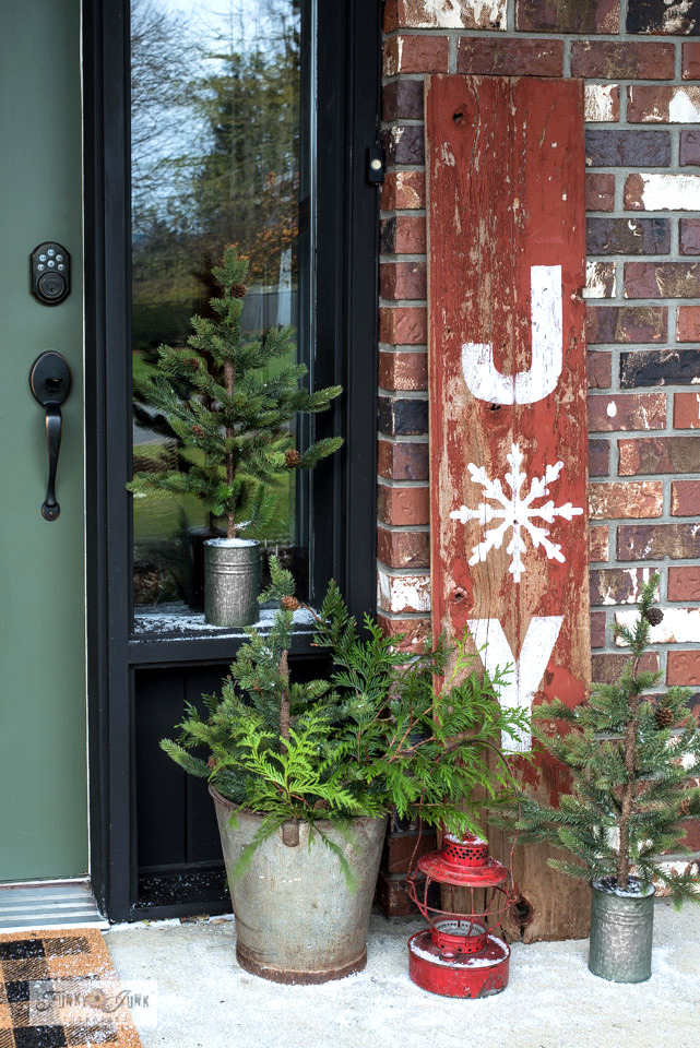 Joy rustic shiplap Christmas sign with stencil