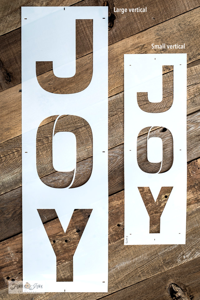 Make a horizontal or vertical Joy Christmas sign with stencils from Funky Junk's Old Sign Stencils!