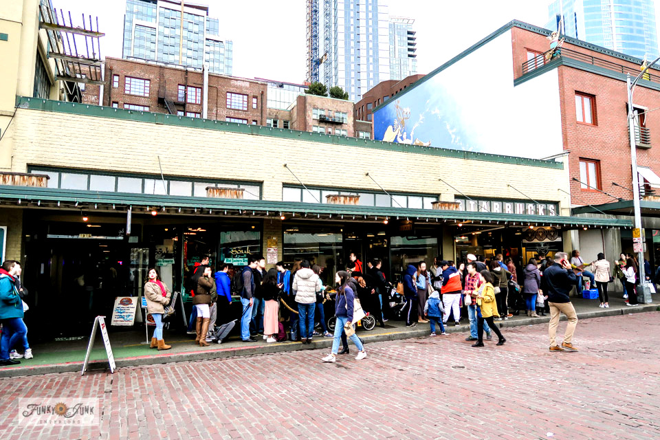 The first and original Starbucks across the road from Pike Place Market in Seattle, Washington.