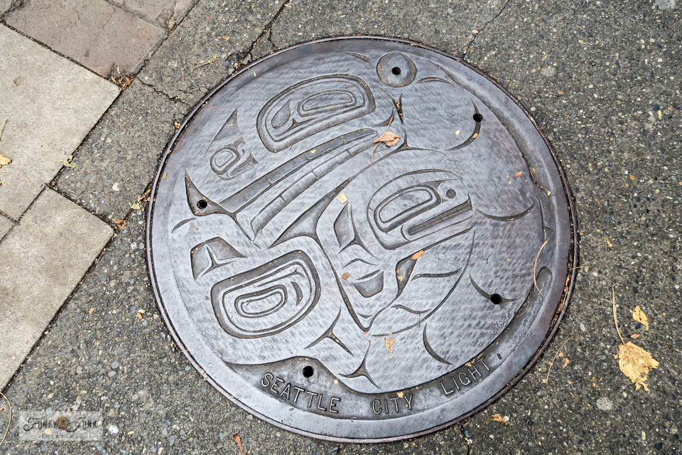 Culvert cover art in Seattle, Washington