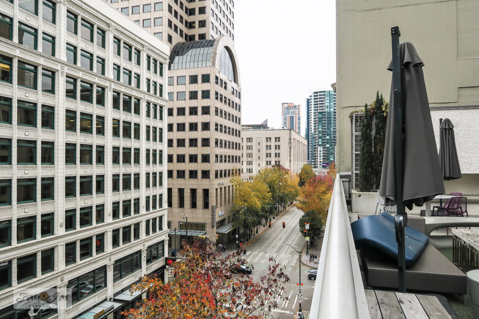 The street view from the Motif Seattle hotel in Seattle, Washington.