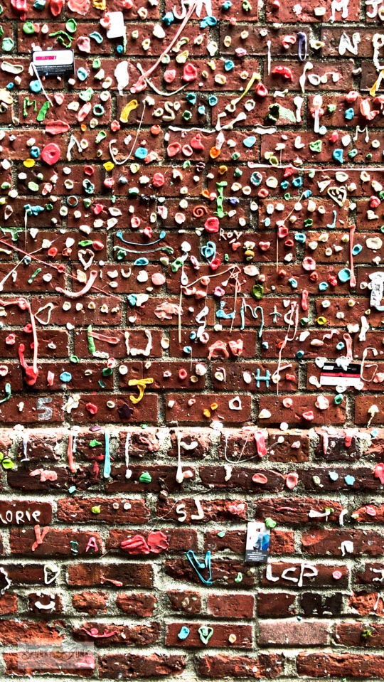 The gum wall at Pike Place Market in Seattle, Washington.