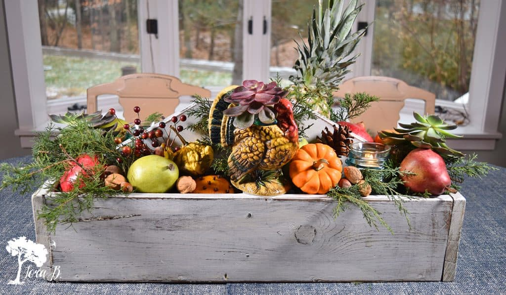 Thanksgiving toolbox centrepiece by Lora B, featured on Funky Junk Interiors
