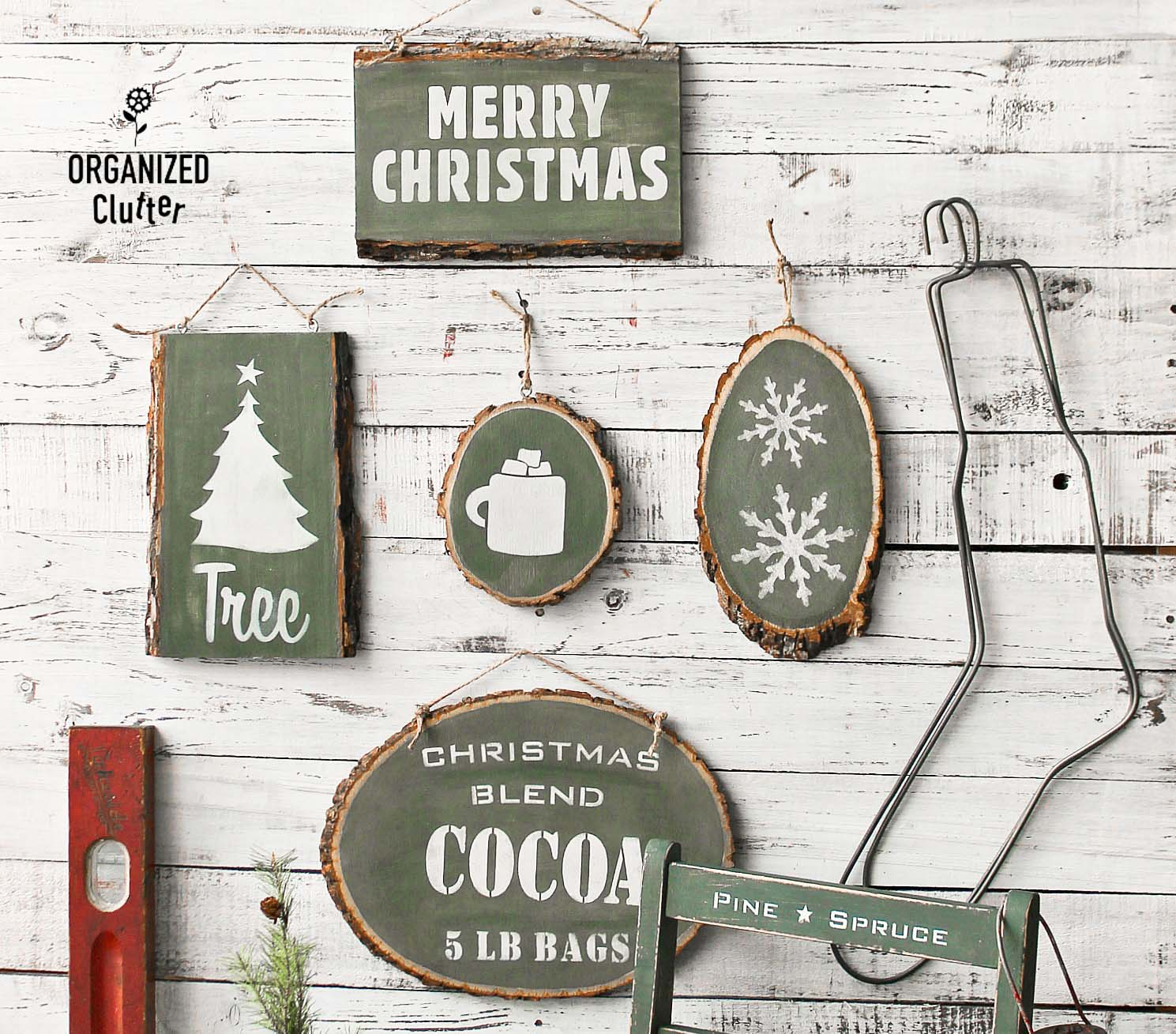 Wood slice Christmas signs by Organized Clutter, featured on Funky Junk Interiors
