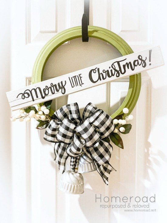 Clock frame Christmas wreath by Homeroad, featured on Funky Junk Interiors