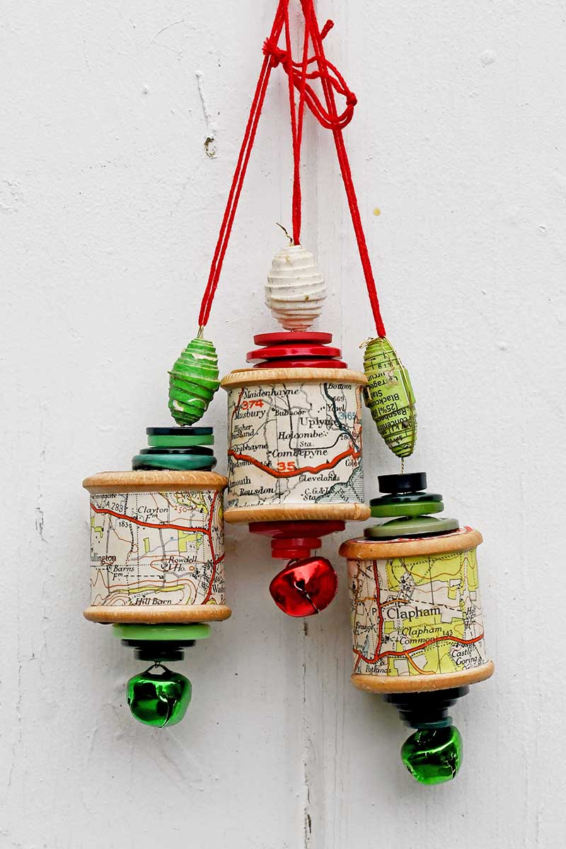Spool Christmas ornaments by Pillar Box Blue, featured on Funky Junk Interiors