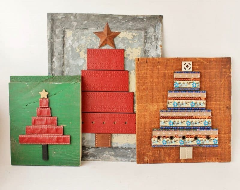 Repurposed belt Christmas trees art by Adirondack Girl at Heart, featured on Funky Junk Interiors