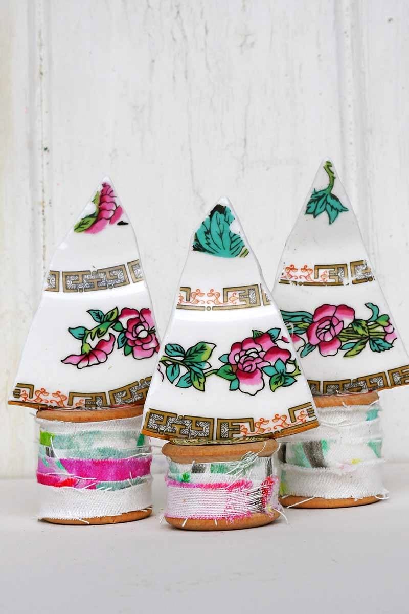 China plate trees by Pillar Box Blue, featured on Funky Junk Interiors