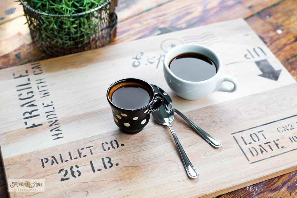 Learn how to protect your furniture with this cute shipping crate cutting board tray! A food safe way to serve up your favorite coffee or beverages for any surface! Featuring Shipping Crate Stamps from Funky Junk's Old Sign Stencils. #funkyjunkinteriors #coffeetray #tray #palletwood #pallet