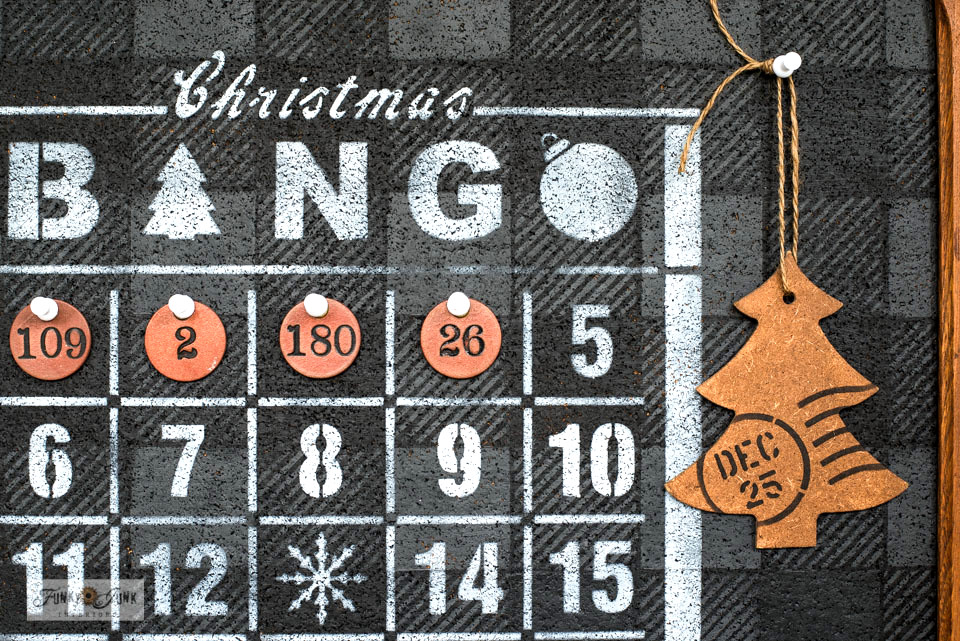 Learn how to easily make this festive Buffalo Check Christmas Countdown Bingo Board with an antique mirror frame, bulletin board, vintage locker numbers, and Funky Junk's Old Sign Stencils! Part of a Christmas blog hop. #funkyjunkinteriors #funkyjunksoldsignstencils #christmas #oldsignstencils #fusionmineralpaint #christmascountdown