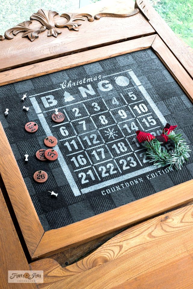 Learn how to stencil this Christmas Countdown Bingo Bulletin board with vintage dresser mirror frame with Funky Junk's Old Sign Stencils.