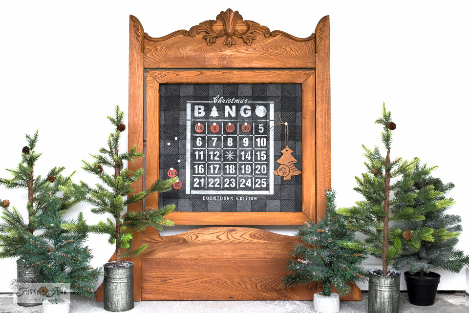 Learn how to make this vintage framed Christmas Countdown Bingo Board with Funky Junk's Old Sign Stencils. Click for full tutorial!