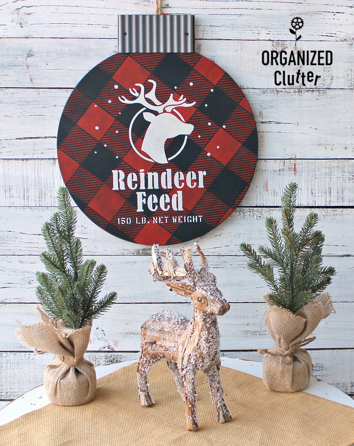 Buffalo Checked Reindeer Feed Christmas ornament wall art by Organized Clutter, featured on Funky Junk Interiors