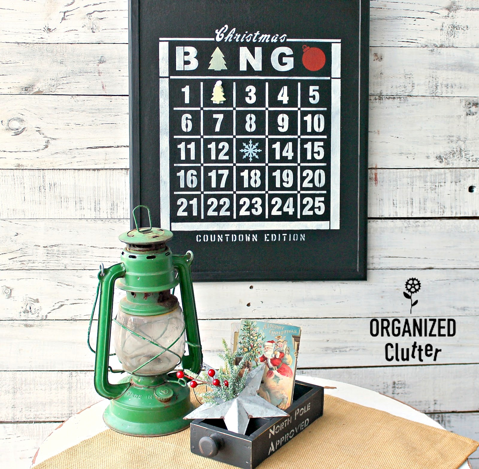Christmas Countdown Bingo bulletin board by Organized Clutter, featured on Funky Junk Interiors