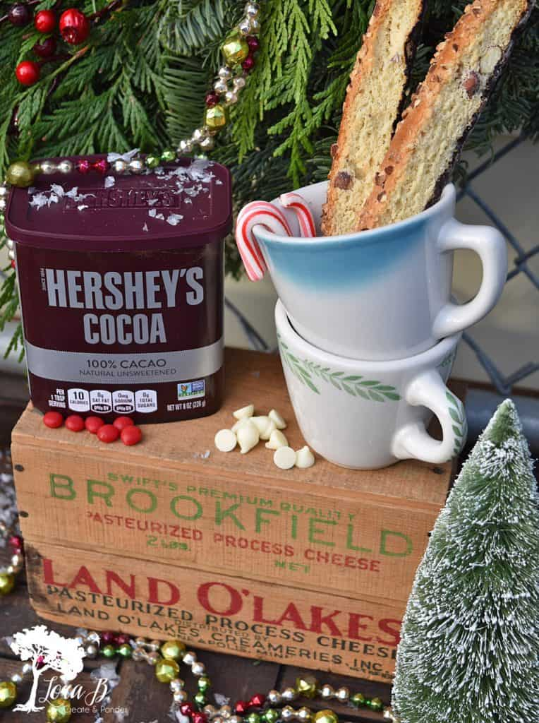 Farmhouse-style Christmas hot chocolate bar by Lora B, featured on Funky Junk Interiors