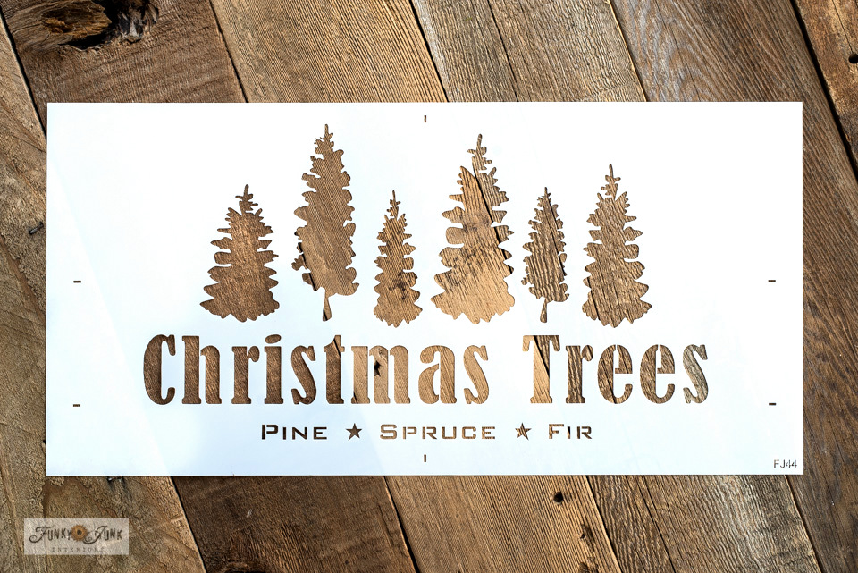 Christmas Trees Pine Spruce and Fir stencil by Funky Junk's Old Sign Stencils is a versatile text and graphics stencil with a row of unique hand drawn trees and bold text.