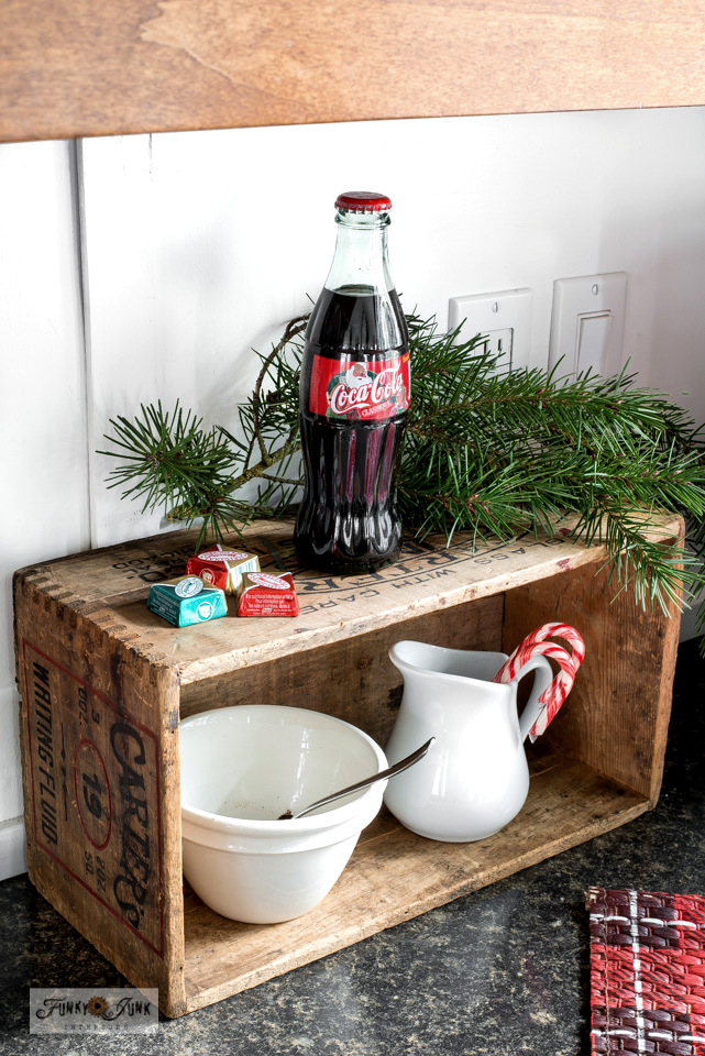 A vintage crate becomes a compact coffee station in this Christmas kitchen home tour.