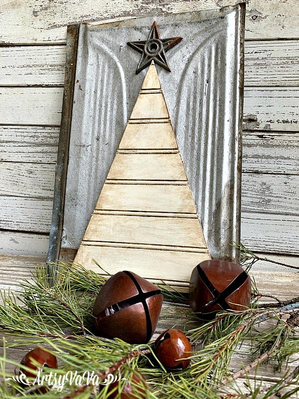 Beadboard Christmas tree by Artsy Va Va, featured on Funky Junk Interiors