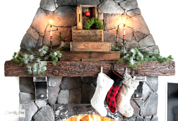 Christmas vintage crates fireplace mantel
