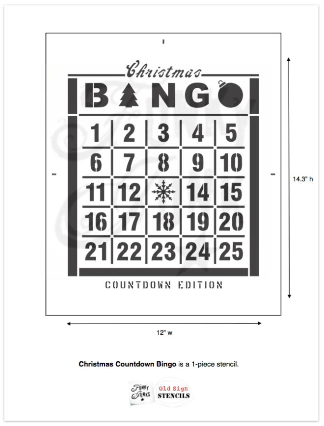 Christmas Countdown Bingo stencil