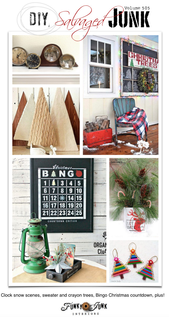 DIY Salvaged Junk Projects 505 - Clock snow scenes, sweater and crayon trees, Bingo Christmas countdown, plus! Up-cycled features and link party. Join in!