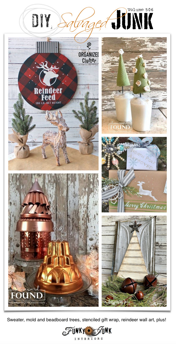 DIY Salvaged Junk Projects 506 - Sweater, mold and beadboard trees, stenciled gift wrap, reindeer wall art, plus! Features and an up-cycled link party. Join in!