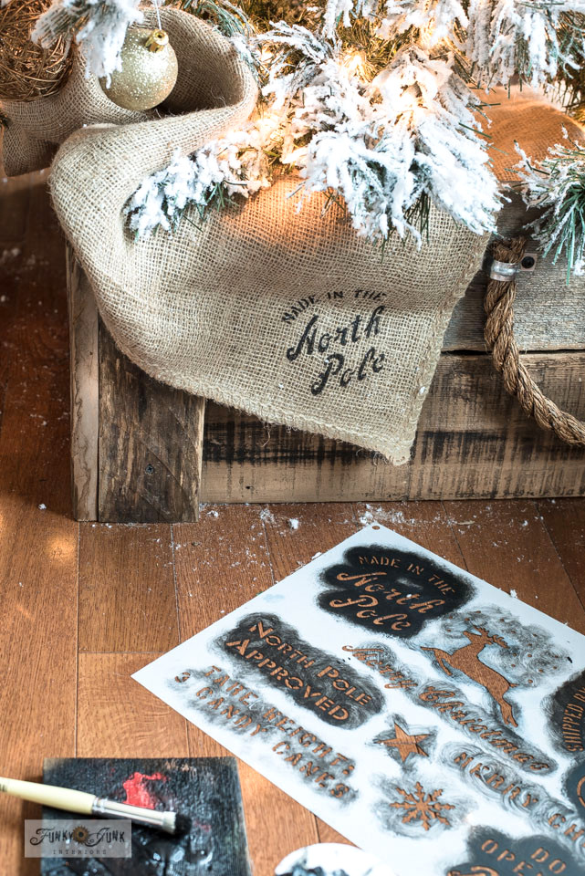 Learn how to add authentic crate markings on burlap and wood with a Christmas Crates stencil!