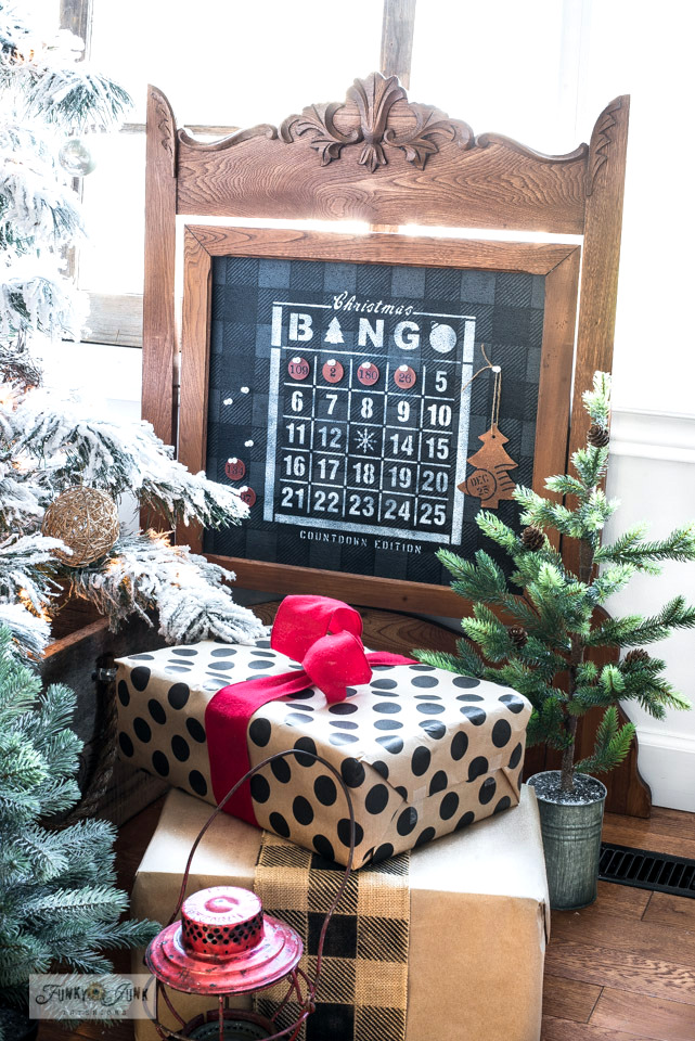 Learn how this vintage frame became a Christmas Countdown Bingo bulletin board, that now sits at the base of the Christmas tree with reclaimed wood tree skirt.