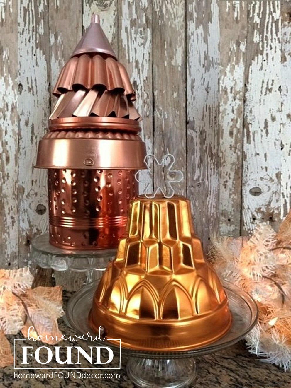 Cooper jello mould Christmas trees by Homeward Found, featured on Funky Junk Interiors