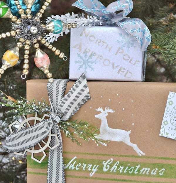 Shiny Brite styled Christmas gift wrap by Lora B, featured on Funky Junk Interiors