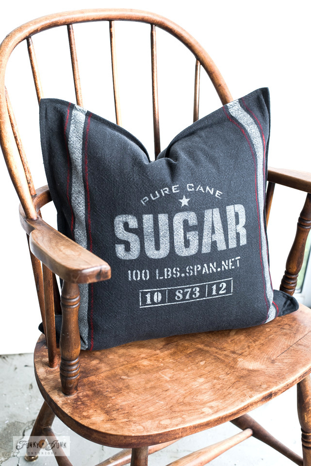 Learn how to make this Pure Cane Sugar grain sack striped pillow with Ikea Jofrid pillow covers and the Sugar and Grain Sack Stripes stencils from Funky Junk's Old Sign Stencils.