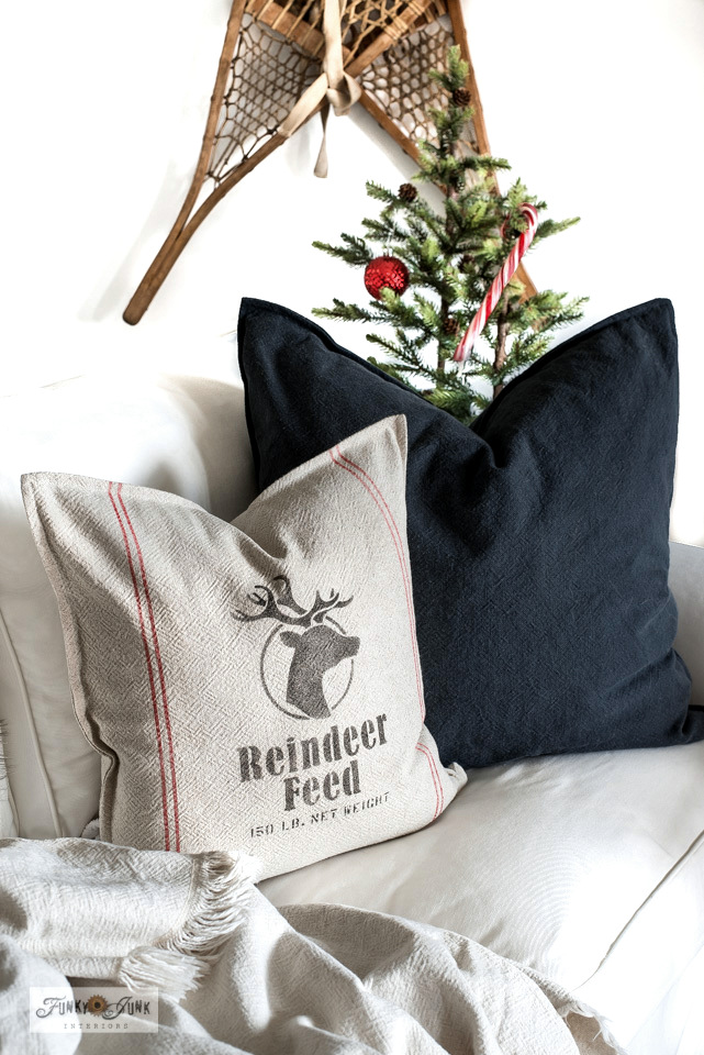 Learn how to make this charming Reindeer Feed pillow from Ikea Jofrid covers and Funky Junk's Old Sign Stencils.