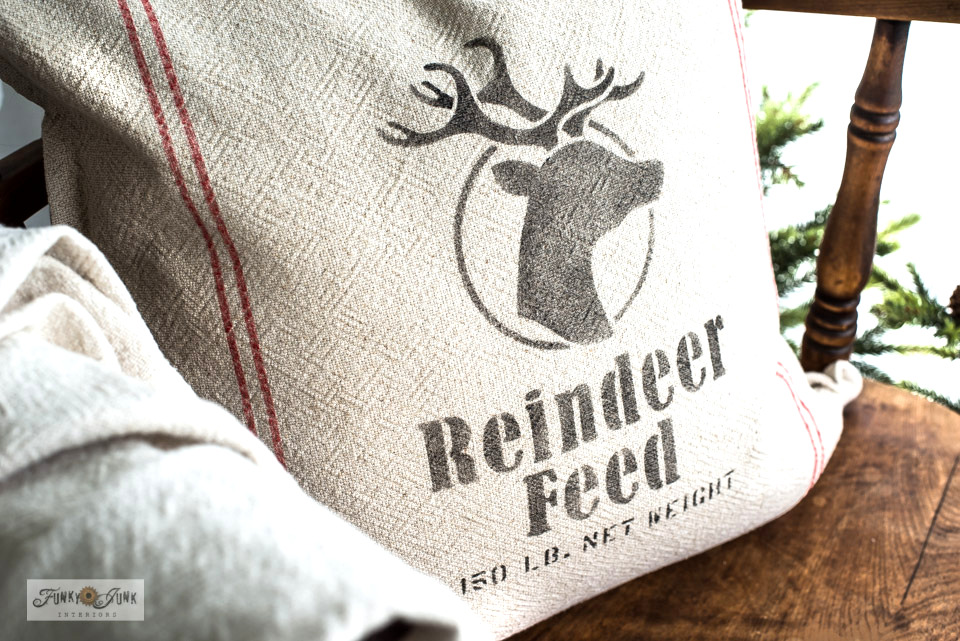 Learn how to make a DIY Reindeer Feed Pillow and Santa Sack with grain sack stripes! So festive and perfect for Christmas decorating using charming stencils from Funky Junk's Old Sign Stencils! Click to view full tutorials and helpful videos to show you how!