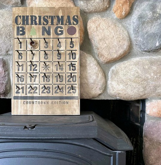 Rustic industrial Christmas Countdown Bingo board by Homeroad, featured on Funky Junk Interiors
