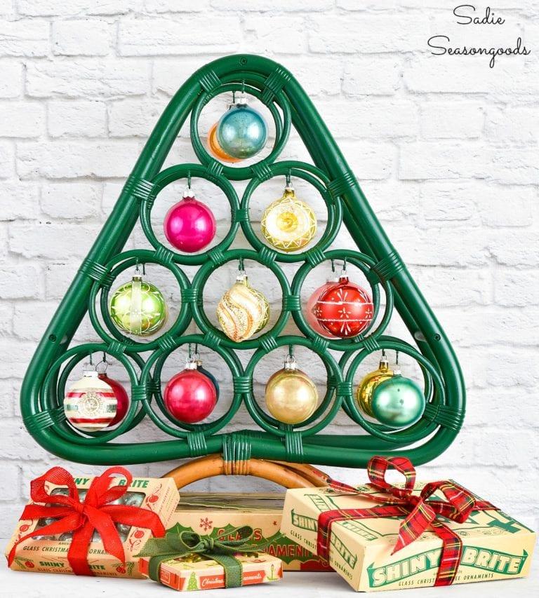 Wine rack Shiny Brites Christmas tree by Sadie Seasongoods, featured on Funky Junk Interiors