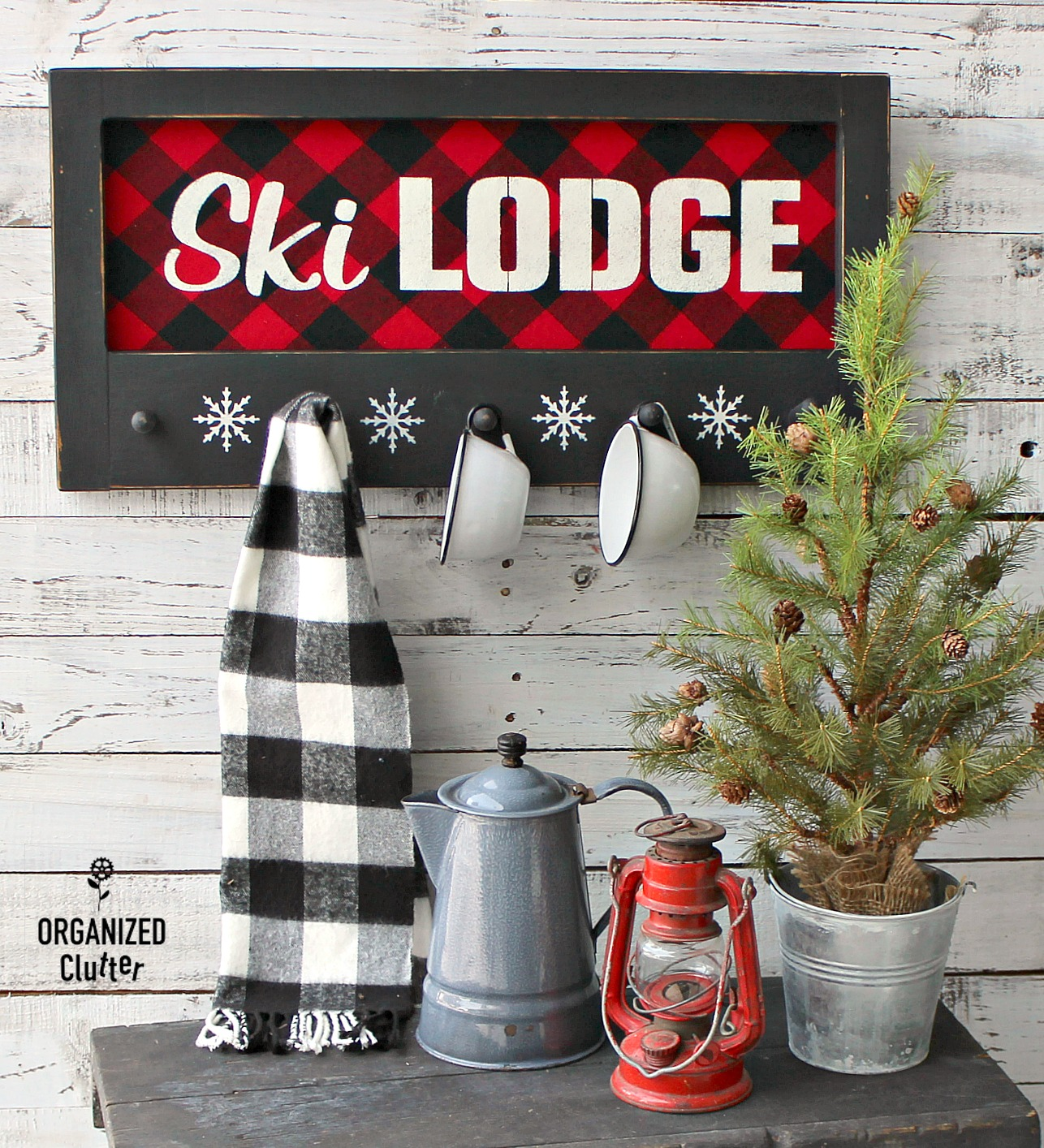 Buffalo Checked cozy Ski Lodge winter sign by Organized Clutter, featured on Funky Junk Interiors