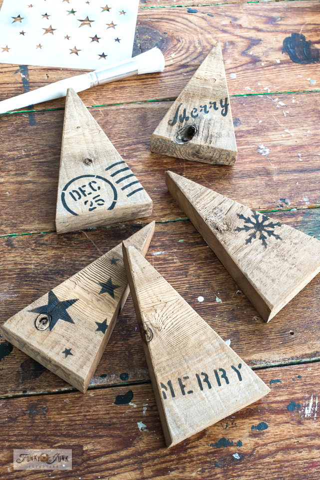 How to make wood scrap Christmas and winter trees then stencil them with festive winter and Christmas sayings with Funky Junk's Old Sign Stencils.