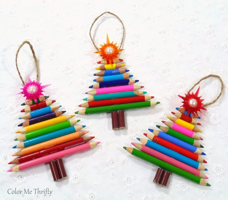 Pencil crayon Christmas tree ornaments by Color Me Thrifty, featured on Funky Junk Interiors