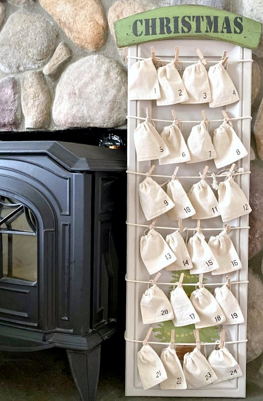 Christmas countdown advent calendar with a surprise by Homeroad, featured on Funky Junk Interiors