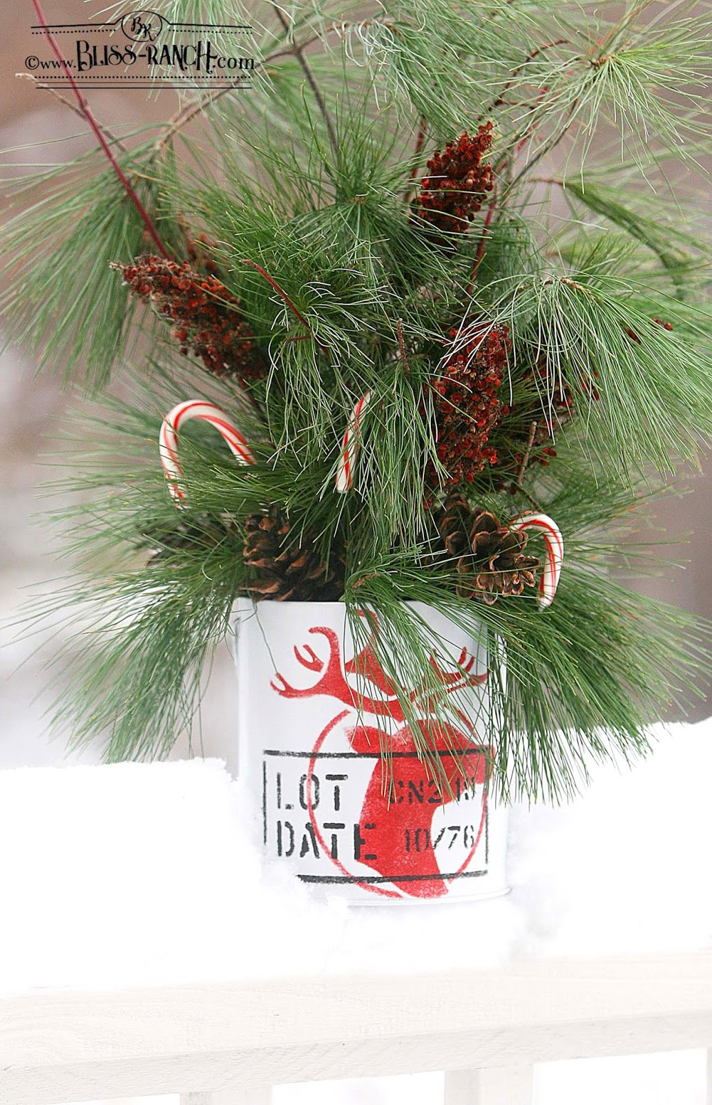 Reindeer Christmas branch planter buckets by Bliss Ranch, featured on Funky Junk Interiors