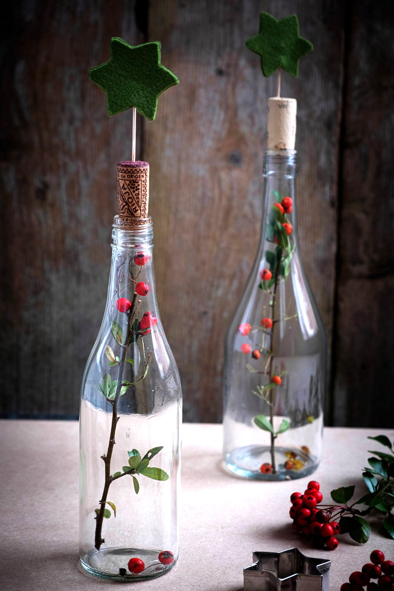 Cloche Christmas bottles by ElsarBlog, featured on Funky Junk Interiors