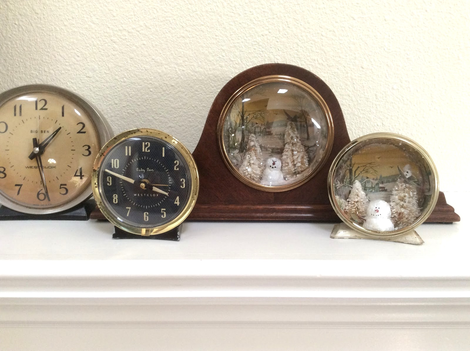Clock snow scene globes by Fresh Vintage By Lisa S, featured on Funky Junk Interiors