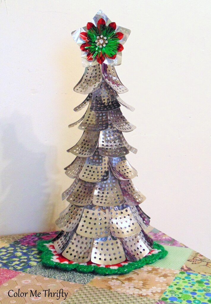 Steamer industrial Christmas tree by Color Me Thrifty, featured on Funky Junk Interiors