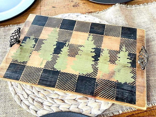Buffalo Check cheeseboard tray by Homeroad, featured on Funky Junk Interiors