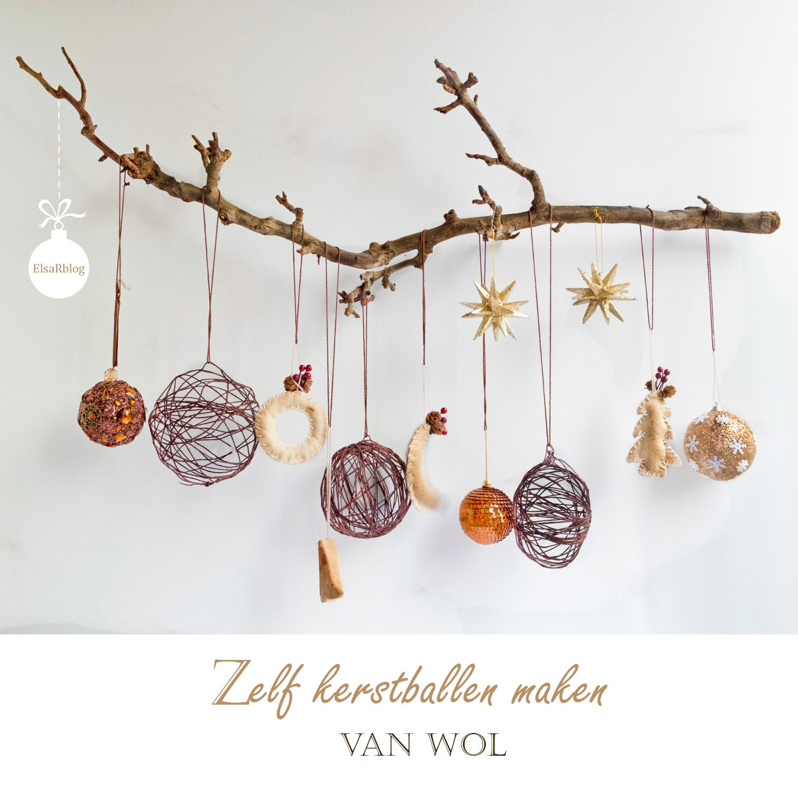 Wool Christmas ornaments hung on a branch by ElsaRBlog, featured on Funky Junk Interiors