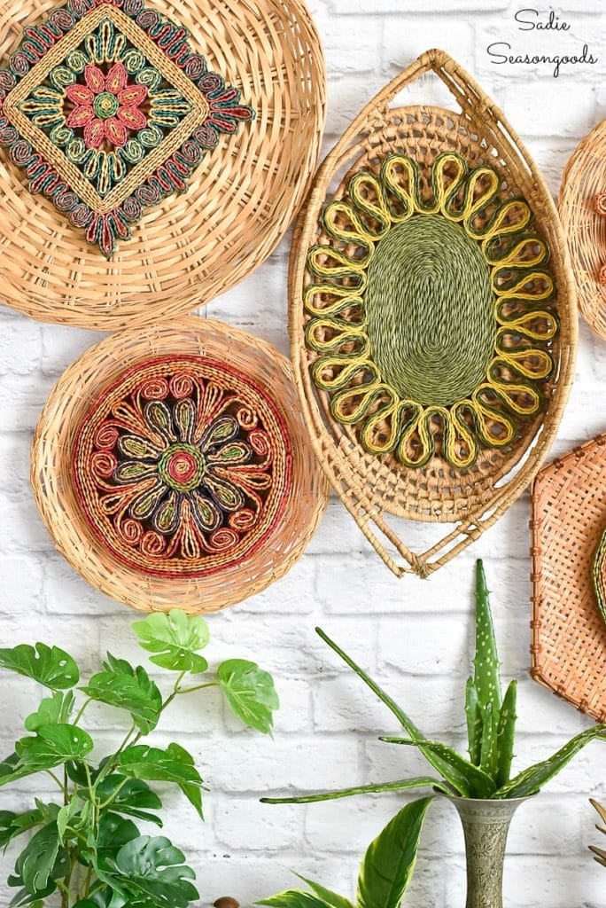 Wicker basket and trivet boho wall decor by Sadie Seasongoods, featured on DIY Salvaged Junk Projects 510 on Funky Junk Interiors