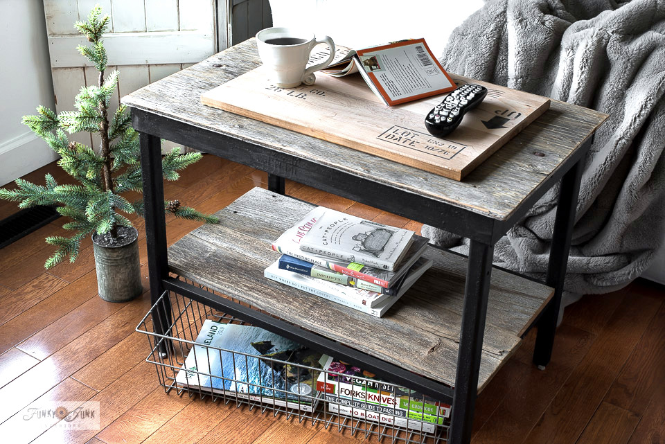Have books to clean out too? This little rustic coffee table with a wire basket as book storage will encourage me to read what I have, then ditch the rest! Part of a Marie Kondo challenge. Join in!