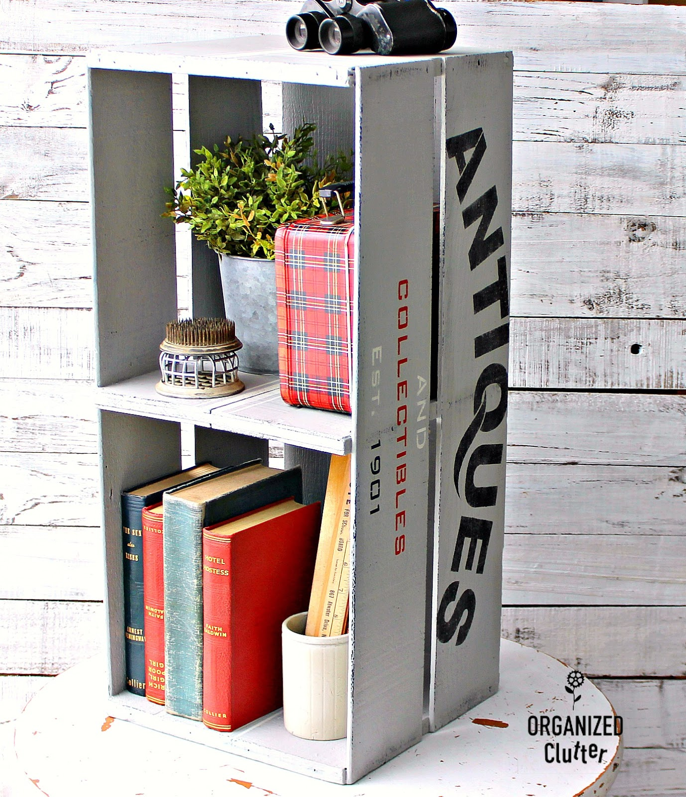 Antiques crate shelving by Organized Clutter, featured on Funky Junk's DIY Salvaged Junk Projects 509